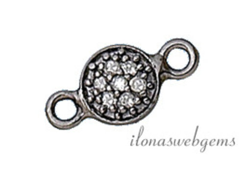 Sterling silver connector with diamond approx 13x6mm