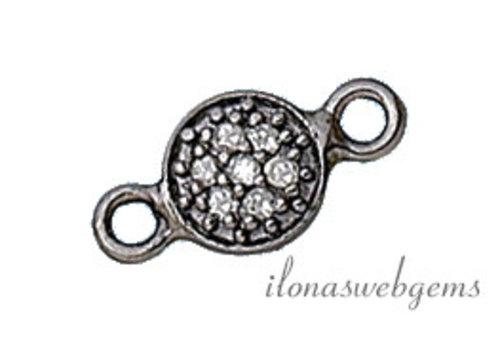 Sterling zilveren connector met diamant