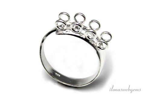 Sterling silver ring with 8 eyes around 25x6.5mm