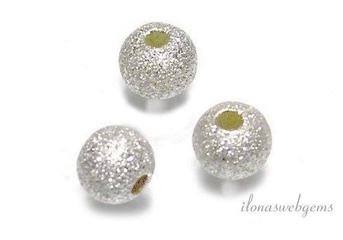 6 stuks sterling zilveren kraaltje stardust ca. 6mm