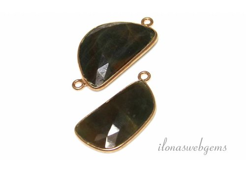 2 pcs set with faceted Sapphire