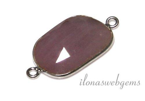 Sterling zilveren connector met roze Saffier facet