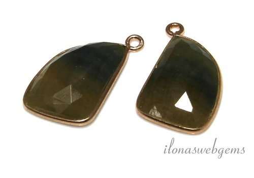 2 pieces Rose Vermeil (ear) pendant with blue and yellow sapphire facet