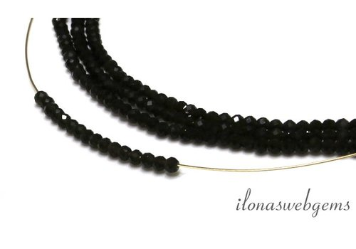 1cm Donkere Rookkwarts (Morion) kralen facet rond ca. 3mm