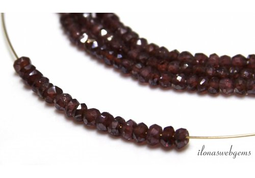 Garnet beads facet roundel approx 3x2mm