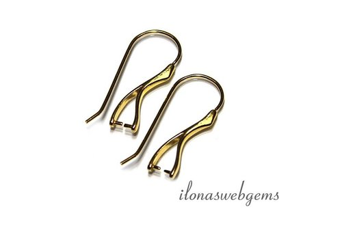 1 pair of ear hooks Vermeil with bail / pendant clasp