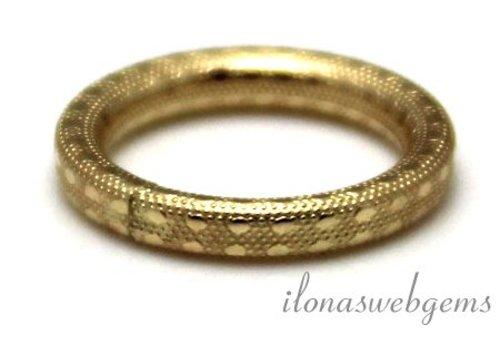 14k/20 Gold filled gesloten oog/ring bewerkt ca. 15x2mm