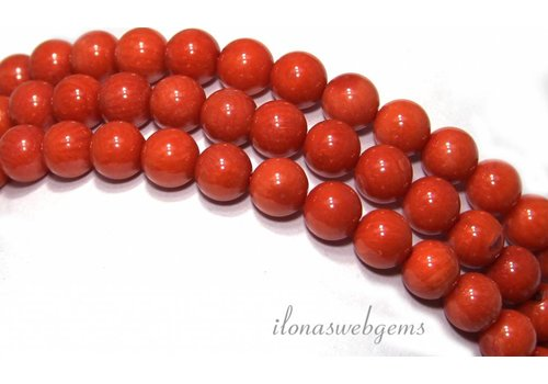 Red coral beads 'old Dutch' about 6.7mm