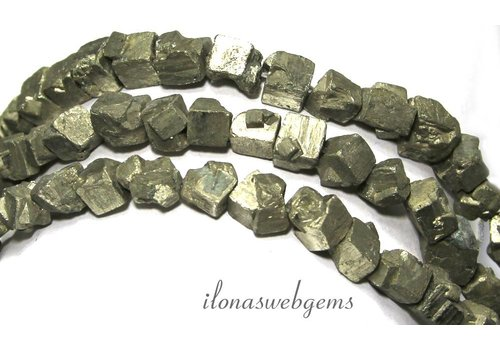 Pyrit Perlen Quadrat rau um 7-10mm