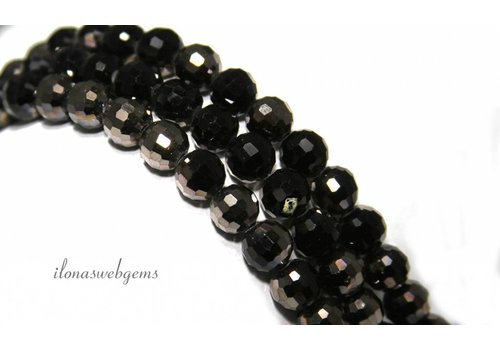 Glass beads faceted round brown-black 8mm ca.