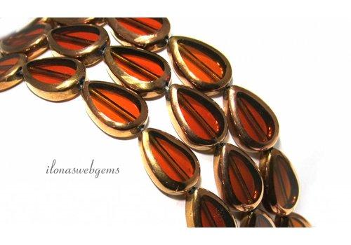 Glasperlen Bronze ca. 17x12x4.5mm
