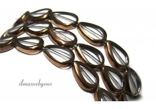Glaskralen brons ca. 17x12x4.5mm