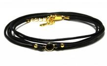 Inspiratie armband: Vermeil, leren koord, connector
