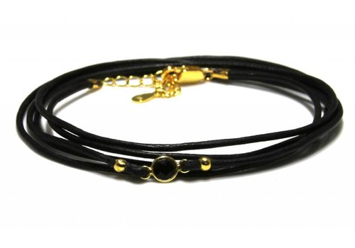 Inspiration Bracelet: Vermeil, leather cord, connector