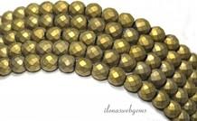 Hämatit Perlen rund Gold etwa 6 mm facettiert