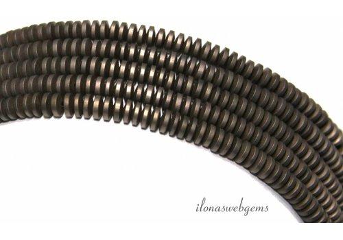 Hematiet kralen discs donkergrijs ca. 4x1.5mm