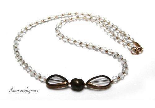 Inspiration Halskette: 14 K / 20 Rose Gold gefüllt, Strass, Glasperlen, Süßwasser-Zuchtperlen