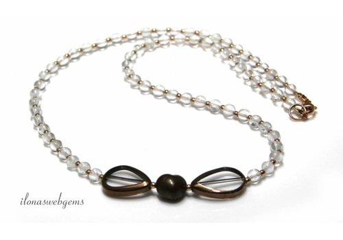 Inspiration Necklace: 14K / 20 Rose gold filled, Rhinestone, Glass Beads, Freshwater Pearl