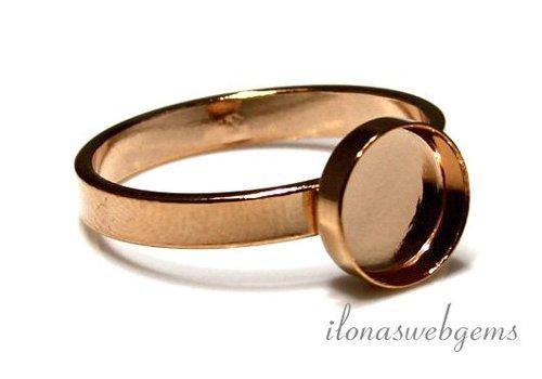Rosé vermeil ring for cabochon 8mm
