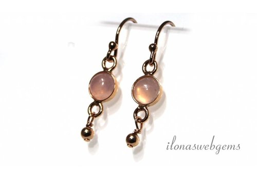 Inspiration Earrings: Rose Vermeil, Rose Quartz cabochon