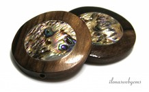 Abalone in Ebony coin ca. 30x7mm