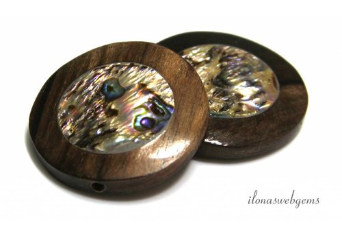 Abalone Ebony coin approx 30x7mm