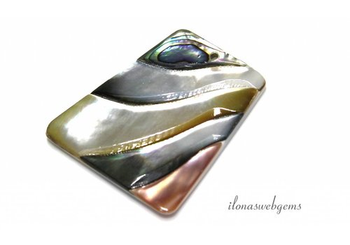 Abalone pendant approx 44x38x5mm