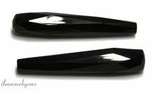 1 paar Onyx facet pegels ca. 44x9mm