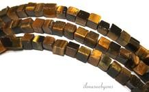 Tigerauge Perlen Quadrat etwa 4,5 mm