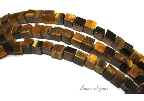 Tijgeroog kralen vierkant ca. 4.5mm
