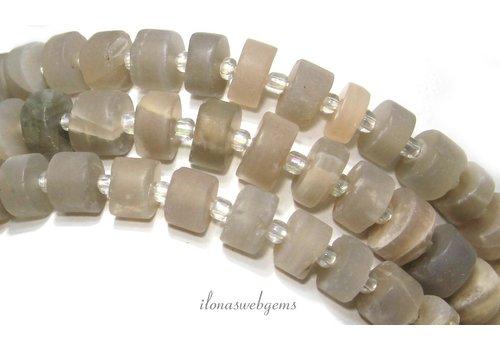 Maansteen kralen rondel mat ca. 9x5mm