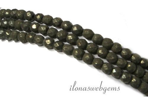 Pyrit Perlen facettiert rund 4mm