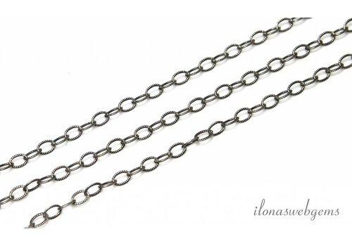 1cm Sterling silver chain / links oxidized