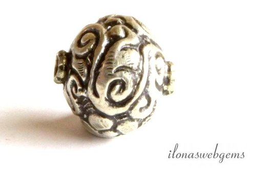 Silber Tibetanische Repousse Perle ca. 18mm