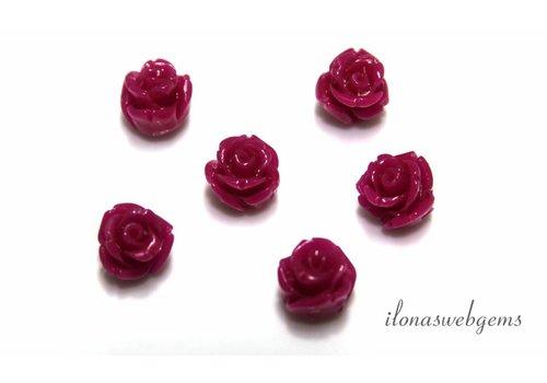 Koraal roosje fuchsia (kraal)