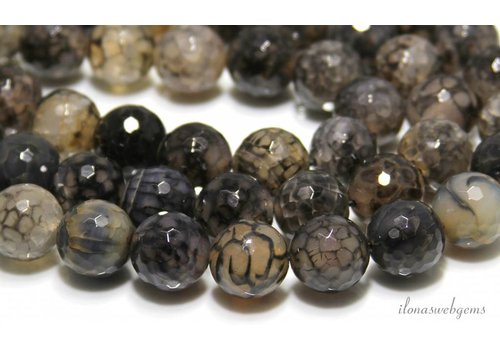 Fire Agate beads faceted round approx 16mm