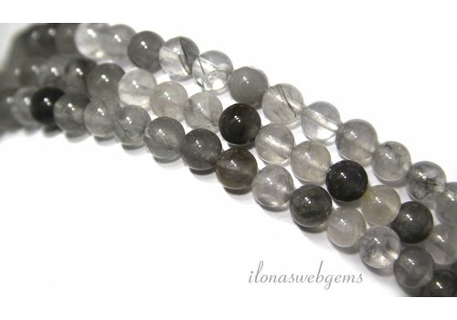 Gray Quartz beads about 6.5mm
