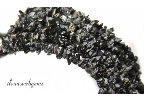 Snowflake Obsidiaan split kralen fijn ca. 5mm