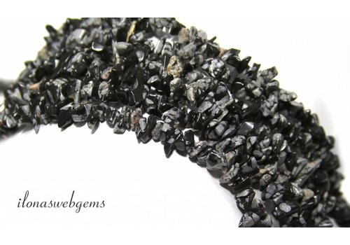 Snowflake Obsidian split beads fine approx. 5mm