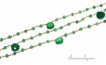 10cm rosé Vermeil Halskette mit Perlen Smaragd