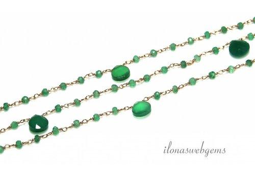 Übrig gebliebene Vermeil Halskette mit Perlen Smaragd ca. 5cm