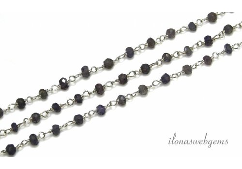 10cm Sterling Silver Necklace With Beads Iolite