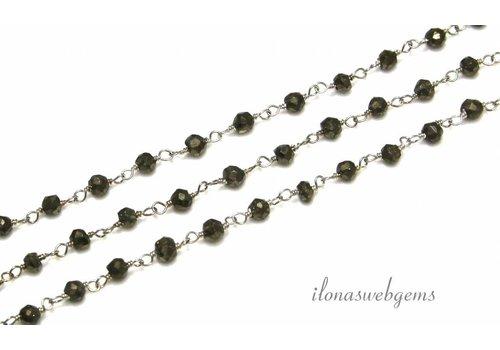 10cm Sterling Silber Halskette mit Perlen Pyrit
