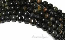 Schwarz Tigerauge Perlen rund blau-gelb ca. 8,5 mm