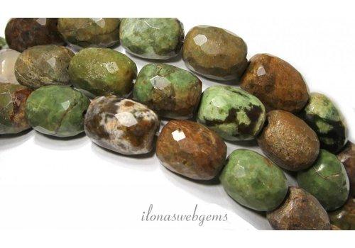 Green Opal beads facet approx 17x13mm