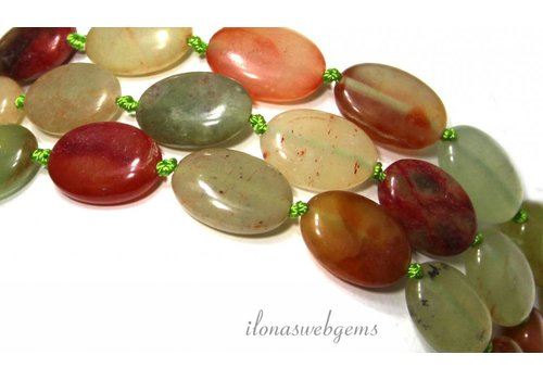 Serpentine beads oval about 18x12x6.5mm