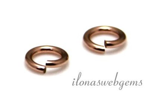 6 stuks Rosé 14k/20 Gold filled oogje open ca. 4x0.8mm