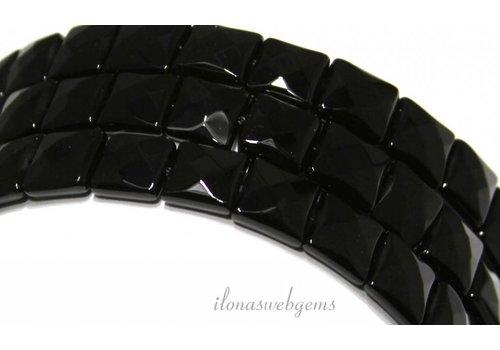 Onyx kralen facet vierkant ca. 10mm