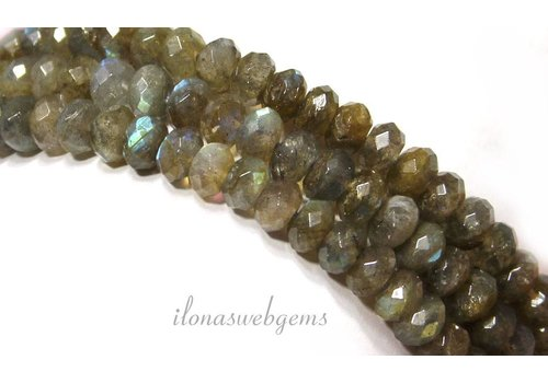 Labradorite beaded facet round about 7x4.5mm