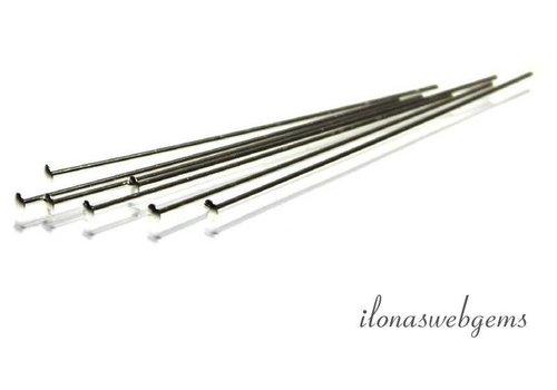 Sterling Silber Stift mit flachem Kopf über 50x0.5mm